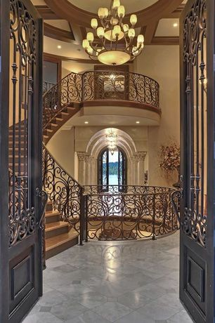 Traditional Entryway with Paint, Chandelier, stone tile floors, Standard height, Exposed beam, travertine tile floors