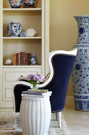 Traditional Living Room with Navy Regent Arm Chair - modern - armchairs - Jonathan Adler, Paint 1, SIDE TABLE DRUM