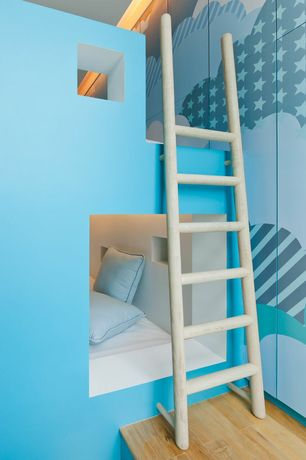 Contemporary Kids Bedroom with Hardwood floors, Bunk beds, High ceiling, Mural