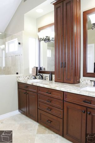 Traditional Master Bathroom with Simple granite counters, Double sink, Ceramic Tile, frameless showerdoor, Undermount sink
