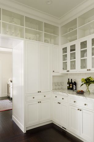 Traditional Pantry with White carrara marble honed, Built-in bookshelf, Crown molding, Hardwood flooring, Hardwood floors