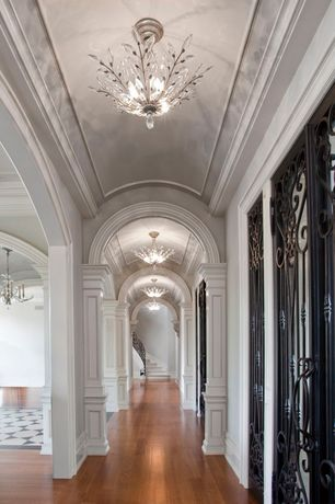 Traditional Hallway with Wainscotting, Standard height, Laminate floors, Columns, Chandelier