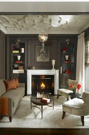 Traditional Living Room with paint2, Built-in bookshelf, Hardwood floors, Ravenna Series Modular Settee, Crown molding