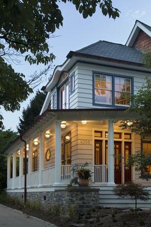 Traditional Porch with Pathway, Deck Railing, double-hung window, Glass panel door, Transom window, specialty window
