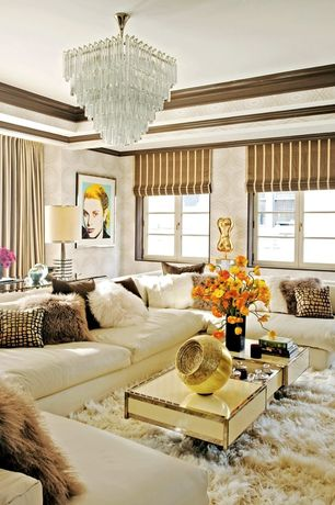 Eclectic Living Room with Crown molding, Standard height, Casement, Chandelier, interior wallpaper, Carpet