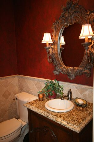 Traditional Powder Room with Daltile levaro glazed porcelain sabbia sand lv91, Angelo red plaster texture wallpaper