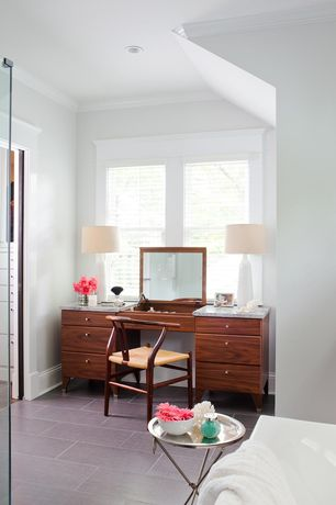 Contemporary Master Bathroom with Complex marble counters, Vanity, Standard height, Natural light, Crown molding, Casement