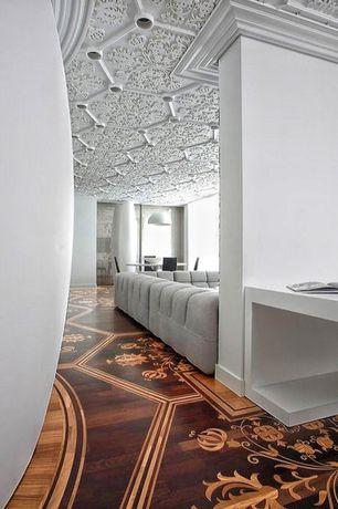 Eclectic Hallway with Hardwood floors, Crown molding