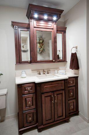 Traditional Full Bathroom with Undermount sink, Raised panel, Corian counters, Pental quartz super white bq200