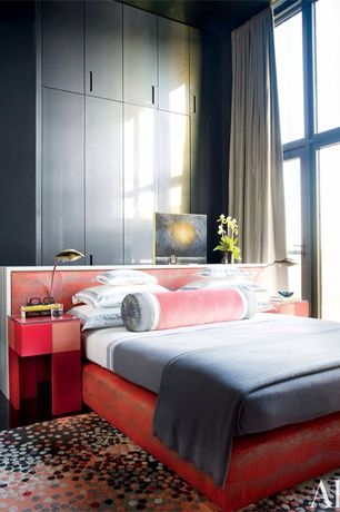 Asian Master Bedroom with Hardwood floors, French doors, Built-in bookshelf, specialty window, Standard height
