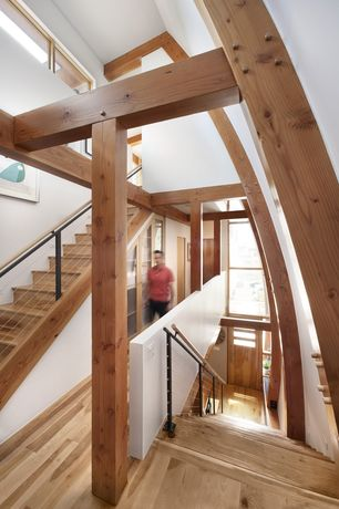 Craftsman Hallway with Hardwood floors, French doors, Exposed beam