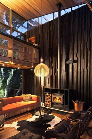 Modern Great Room with Loft, Skylight, picture window, Fireplace, Wood Stove fireplace, Pendant light, Cathedral ceiling