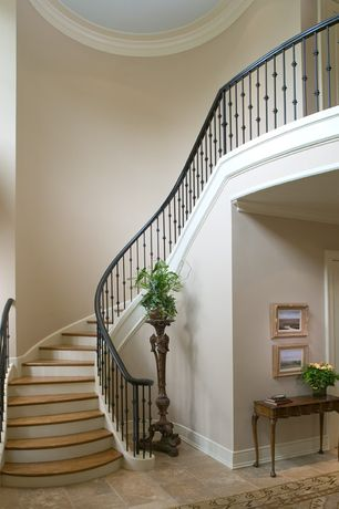 Traditional Staircase with High ceiling, Loft, Crown molding, Hardwood floors
