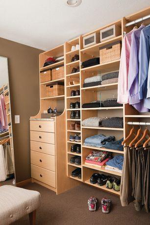 Contemporary Closet with Built-in bookshelf, Carpet