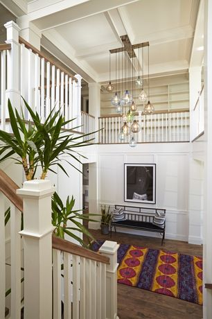 Traditional Entryway with High ceiling, Loft, Hardwood floors, Crown molding, Chair rail, Chandelier, Box ceiling