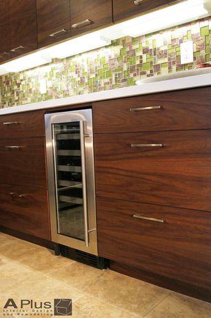 Modern Kitchen with sandstone tile floors, One-wall, Wine refrigerator, Flush, European Cabinets, Ceramic Tile