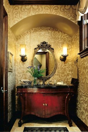 Powder Room with Hickory Manor House Oval Flower Basket Mirror, MS International Pyramid Gold Limestone Tile