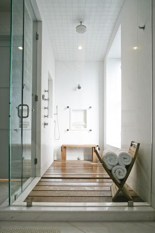 Contemporary Master Bathroom with Rain shower head, Custom teak shower floor, Handheld showerhead, frameless showerdoor