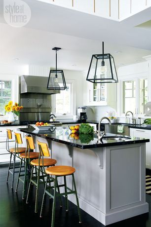 Contemporary Kitchen with Flat panel cabinets, Pendant light, Farmhouse sink, Breakfast bar, Kitchen island, L-shaped, Flush