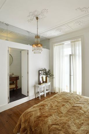 Traditional Master Bedroom with Hardwood floors, Pendant light