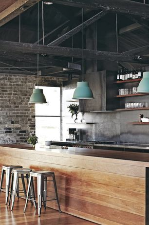 Modern Kitchen with One-wall, Undermount sink, Shoreditch pendant light - blue, Slate, Vaulted ceiling, Wood counters, Flush
