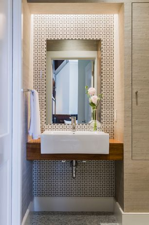 Contemporary Powder Room with interior wallpaper, Wallpaper, ceramic tile floors, Standard height, Wall Tiles, Powder room
