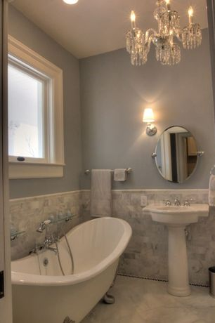 Traditional Full Bathroom with Carrara white honed marble tile, Color Crystal Mini Chandelier, Clawfoot, Pedestal sink