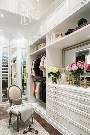 Contemporary Closet with Chandelier, Crown molding, Hardwood floors, can lights, Built-in bookshelf, High ceiling