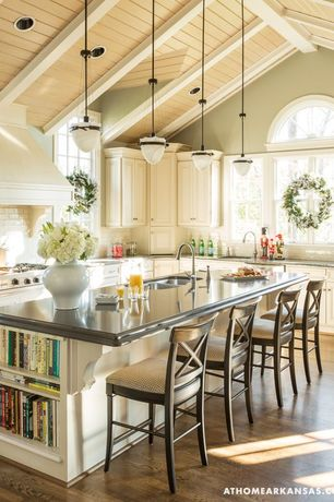 Country Kitchen with Exposed beam, Kitchen island, Pottery barn aaron barstool, KitchenCraft Cabinetry Chelsea Cabinets