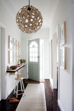 Contemporary Entryway with Hardwood floors, Glass panel door, Chair rail, Sisal linen 2.5'x8' rug runner, Pendant light