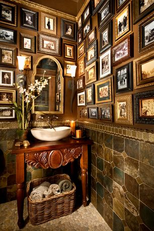 Traditional Powder Room with Hubbardton forge sweeping taper 1 light wall sconce, Stone mosaic tile floor, Wall sconce