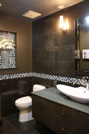 "Contemporary Powder Room with Wall sconce, Daltile coastal keystones tropical thunder blend ck86 1"" x 1"" mosiac, Vessel sink"