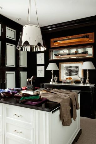 Contemporary Closet with Pendant light, Standard height, Carpet, Built-in bookshelf