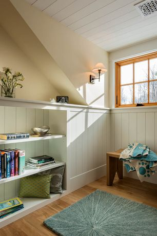Cottage Attic with Wainscotting, Surya Silk Lane Decorative Pillow - Green, Hardwood floors, Built-in bookshelf, High ceiling