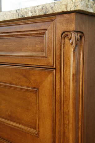 Traditional Kitchen with MS International Giallo Fantasia Granite, Cabinet Decorative Corner Detial