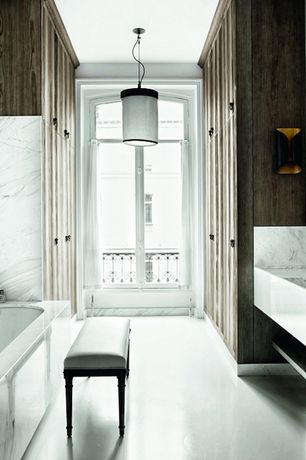 Eclectic Master Bathroom with drop in bathtub, Bathtub, Master bathroom, Pendant light, Complex Marble, Wall sconce, Flush