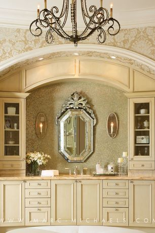 Traditional Master Bathroom with Arteriors agatha taper candle wall sconce, Wall Tiles, Undermount sink, Flush, Wall sconce