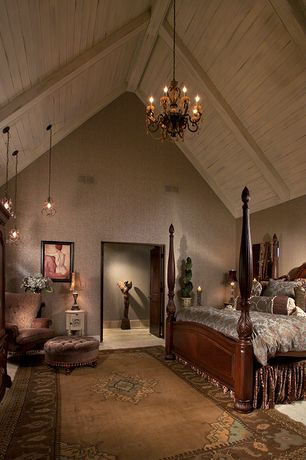 Country Master Bedroom with Carpet, Pendant light, Chandelier, specialty door, Antique armoire/entertainment center