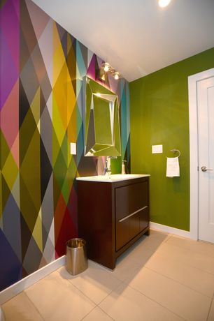 Eclectic Powder Room with can lights, wall-mounted above mirror bathroom light, Flush, stone tile floors, Powder room