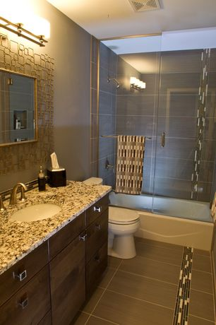 Contemporary Full Bathroom with Undermount sink, tiled wall showerbath, Ceramic Tile, Simple granite counters, Flush, Paint 1