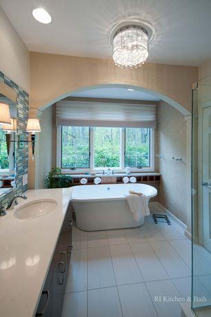 Modern Master Bathroom with Travertine counters, High ceiling, stone tile floors, Wall Tiles, Flush, Master bathroom, Shower
