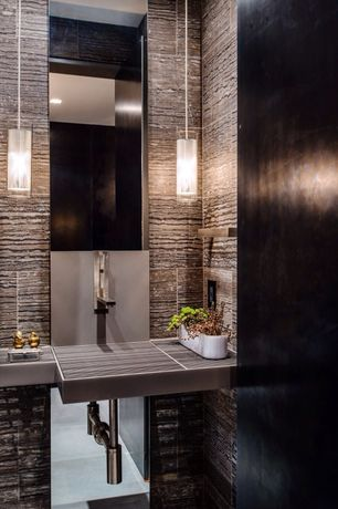 Modern Powder Room with Arizona Tile Athens Grey Vein Cut Limestone, Powder room, Soapstone counters, Wall mounted sink