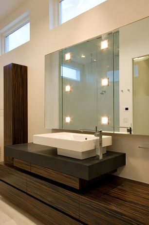 Contemporary Master Bathroom with Vessel sink, wall-mounted above mirror bathroom light, Rain shower, picture window, Shower