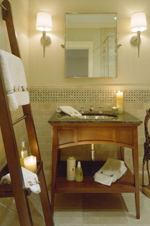 Craftsman Powder Room with Daltile Color Wave Sweet Escape Mosaic Tile, Ann Sacks Pewter Rectangle Field Tile, Console sink