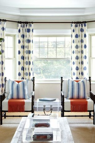Contemporary Living Room with Curtains - Polka-Dot - Navy on White, Carpet, Crown molding, Bay window