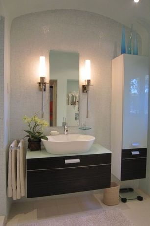Modern Full Bathroom with Wall sconce, Floating vanity, Chrome sheven single hole vessel bathroom faucet, European Cabinets