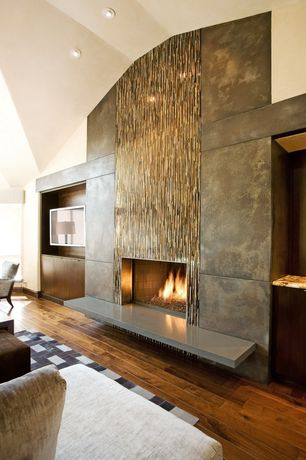 Contemporary Living Room with High ceiling, Custom design, Metal fireplace surround, Hardwood floors, Wood paneled wall