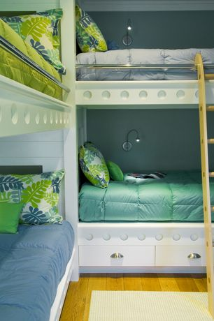 Modern Kids Bedroom with Built-in bookshelf, College plush comforter - aqua, College plush comforter - avocado green