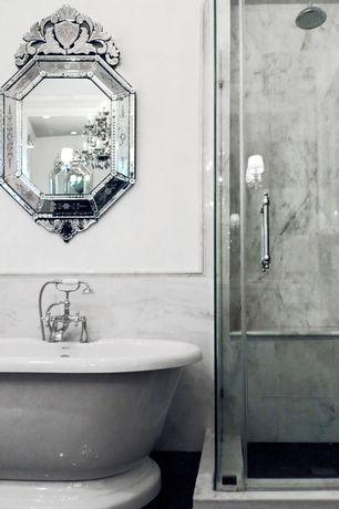 Eclectic Master Bathroom with frameless showerdoor, Freestanding, Venetian mirror, Bathtub, Shower, Wall Tiles, Chandelier