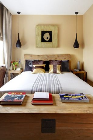 Contemporary Guest Bedroom with Pendant light, Furniutre Maxx Wood Storage Coffee Table , Oak Finish, Hardwood floors